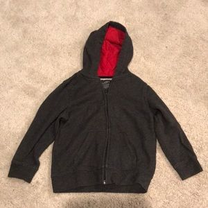 Gray hoodie with red interior